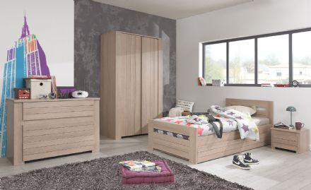 Gami Naturella Bedroom Set 2 - Day Bed, Chest of Drawers, Side Table and Wardrobe